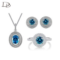 Blue crystal ladies jewelry set 925 Sterling sliver AAA rhineshine pendant necklace ring earrings fashion jewelry JS009