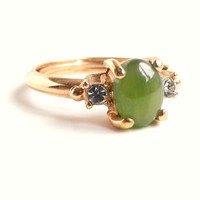Green Stone & Rhinestone Ring  Vintage Size 7 8 by MaejeanVINTAGE