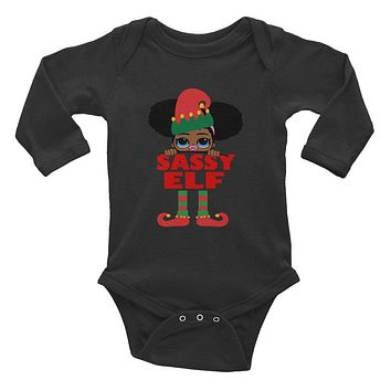 Afro Puff Sassy Elf Infant Baby Girl with Pacifier Onesuit Bodysuit African American Family Christmas Long Sleeve