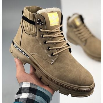 Adidas Nizza winter plus cashmere high-top men and women tooling Martin boots
