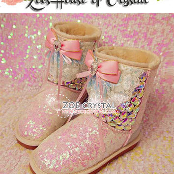 PROMOTION WINTER Pink Wool Boots with shinning and stylish Rhinestones and Cute Bows