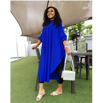 Elegant Sequnied Loose Dress Women Casual Long Batwing Sleeve O Neck Maxi Women's Dress Outwear Solid Plus Size Dress Vestidos
