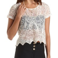 Metallic Embroidered Mesh Tee by Charlotte Russe - Ivory
