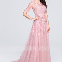 [US$ 179.99] A-Line/Princess Scoop Neck Court Train Tulle Prom Dress With Appliques Lace - JJsHouse