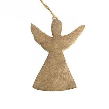 Hanging Wooden Distressed Angel with Wings Christmas Ornament, Natural, 4-3/4-Inch
