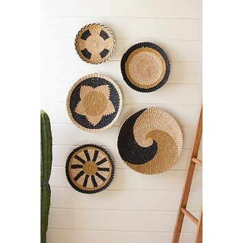 Set Of Five Round Seagrass Platters
