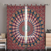 Blue Multi Good Vibes Mandala Hippie Tapestry Curtain Panel Pair on RoyalFurnish.com