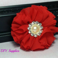 Red organza flower with pearl rhinestone center - fabric flowers - wholesale flowers - hair bow supplies - diy - headband supplies