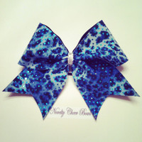 Navy and Turquoise Leopard Print Medium Cheer Bow with Heat Seal Dots