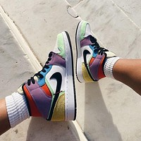 Nike Air Jordan 1 Mid Light Bulb color stitching sneakers basketball shoes