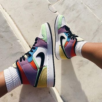 """Air Jordan 1 Mid """"Light Bulb"""" color stitching sneakers basketball shoes"""