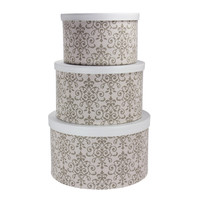 Household Essentials 3 Piece Hat Box Set With Faux Leather Lids
