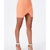 Missguided - Wrap Front Ribbed Mini Skirt Peach
