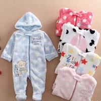 2017 Baby Rompers Cute Soft Newborn Baby Boy Cothes Long Sleeve Winter Rompers NewBorn Baby Girl Clothes Warm Baby Costumes