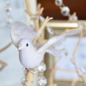 """5"""" White Dove with Feathered Wings Wedding Cake Topper"""