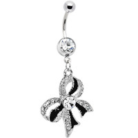 Crystalline Gem Black Tie Bow Dangle Belly Ring | Body Candy Body Jewelry