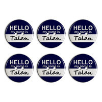 Talan Hello My Name Is Plastic Resin Button Set of 6