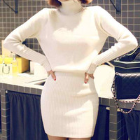 White Turtle Neck Knitted Dress