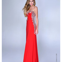 NC-8015 Nina Canacci 2014 Prom Dresses - Red Satin & Silver Filigree Strapless Gown