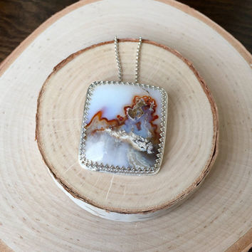 Unique, Picture Agate Cabochon Pendant in .925 Sterling Silver with Crown Bezel and Silver Rolo Chain, Huge Gemstone Bezel Necklace, Gift