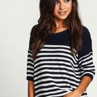 Navy Classic Striped Boxy Sweater