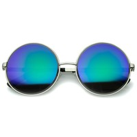 Oversize Metal Frame Etched Edge Colored Mirror Lens Round Sunglasses 60mm