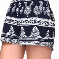 Baroque Print Woven Shorts - LoveCulture