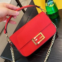 FENDI popular one-shoulder bag for ladies, casual and pure color grated leather baguette