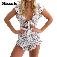 Missufe 2017 Butterfly Bow Sexy Backless Women's Playsuits V Neck Floral Printed Jumpsuits Lace Up Short Sleeve Boho Bodysuits