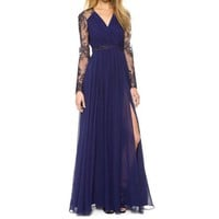 DCCK8H2 Sexy Lace Long Chiffon Evening Formal Party Cocktail Dress Bridesmaid Prom Gown