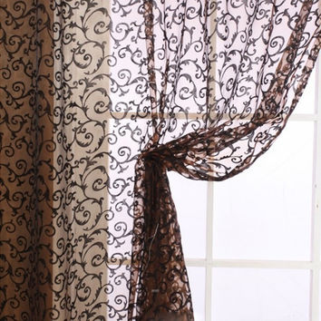 Elegant Floral Tulle Voile Door Window Curtain Drape Panel Sheer Scarf Valances = 1957997572