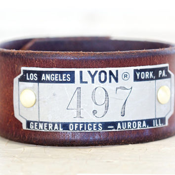 Upcycled Locker Plate Cuff - Upcycled Belt Cuff - Gift for Him - Hip - Unique Gift