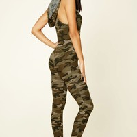 Hooded Camo Print Jumpsuit