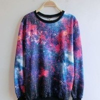 Amazon.com: Women's Galaxy Space Starry Print Girl Long Sleeve Top Round T Shirt Red&blue: Clothing