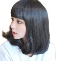 Short Cute Curly Synthetic Hair Wig (Model: Jf010693) (Black)