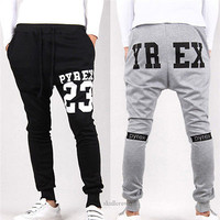Mens Stylish Casual Skinny Harem hip hop Spor drop crotch pants men sweatpants