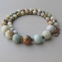 Multicolor Amazonite Gemstone and Copper Beaded Necklace