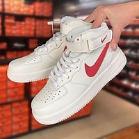 Nike Air Force 1 White and Red High-Top Sneakers Shoes
