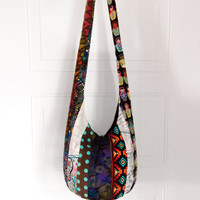 Hobo Bag, Sling Bag, Patchwork, Striped, Aztec, Polka Dot, Batik, Geometric, Hippie Purse, Crossbody Bag