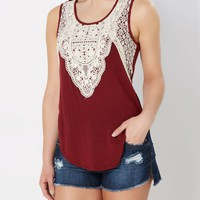 Burgundy Crochet Tank Top | Casual Tank Tops | rue21