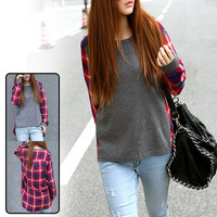 Korean Style Womens Plaids Print Casual Sweaters Cotton Blouse Shirts = 1929604932