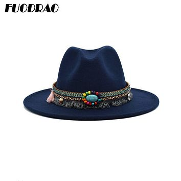 FUODRAO New Autumn Winter Women Fedora Hats Solid Color Wool Wide Brim Jazz Caps Men Vintage British Cowboy Hat Yellow Black F01