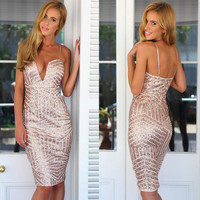 Sexy deep V tight dress 6186WS