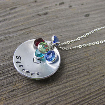 Sisters Swarovski Charm Necklace, Personalized Necklace, Birthstone Necklace, Initial Necklace, Crystal Birthstone Necklace