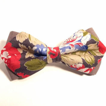 Floral Bow Tie with Grey Background and Red, Green, Blue and White Flower Pattern, Man Bow Tie, Bow tie with Flowers, Diamond Point Bow Tie
