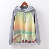 Women's Fashion Sea Print Hoodies Casual Fleece Hats [9067781828]