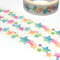 colorful Stars washi tape 5M star theme rainbow star lucky star sticker tape little girl princess fairy tale party decor gift wrapping tape