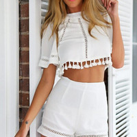 Hollow Shirt Top Tee Shorts Set Two-Piece