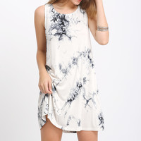 Black Sleeveless Ink Print Smoke Dress | MakeMeChic.COM