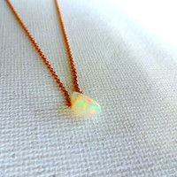 Natural Micro Ethiopian Welo Opal Floating Stone Pendant & 14k Rose Gold Fill 925 Sterling Silver Chain Necklace; Free Form Opal Unique Gift